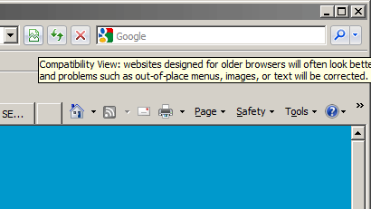 IE8 Compatibility Mode Pop-up Message